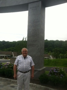 In front of the Korean War Memorial, Newtown Square, PA